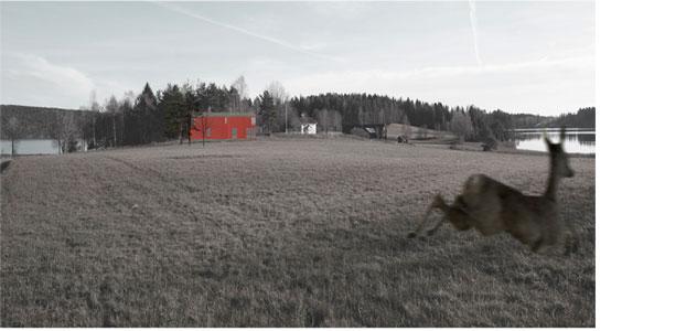 Maalaistalo Bengtsforsin maisemissa. Dalslandsstugan