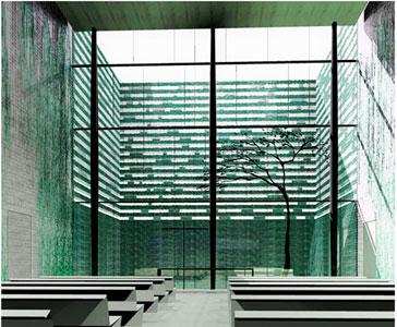 Näkymä kappelista sisäpihan viherseinäiseen puutarhaan. Malminkartanon kappeli