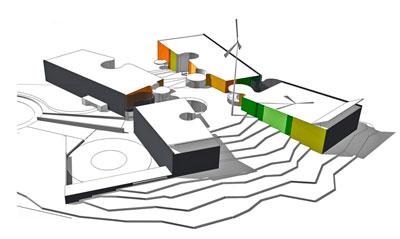 Aksonometria Mårtensbro skola och daghem