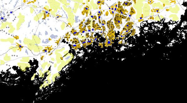 Seudun kasvun periaate: sormet joiden väliin jää luontoa. Helsinki 2050 vision