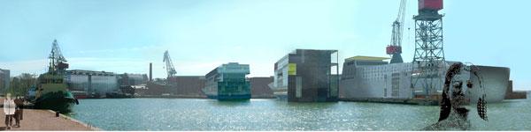 Laivataloja Hietalahden rannassa. Helsinki 2050 vision