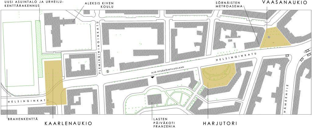 Helsinginkadun 3 aukiota kartalla