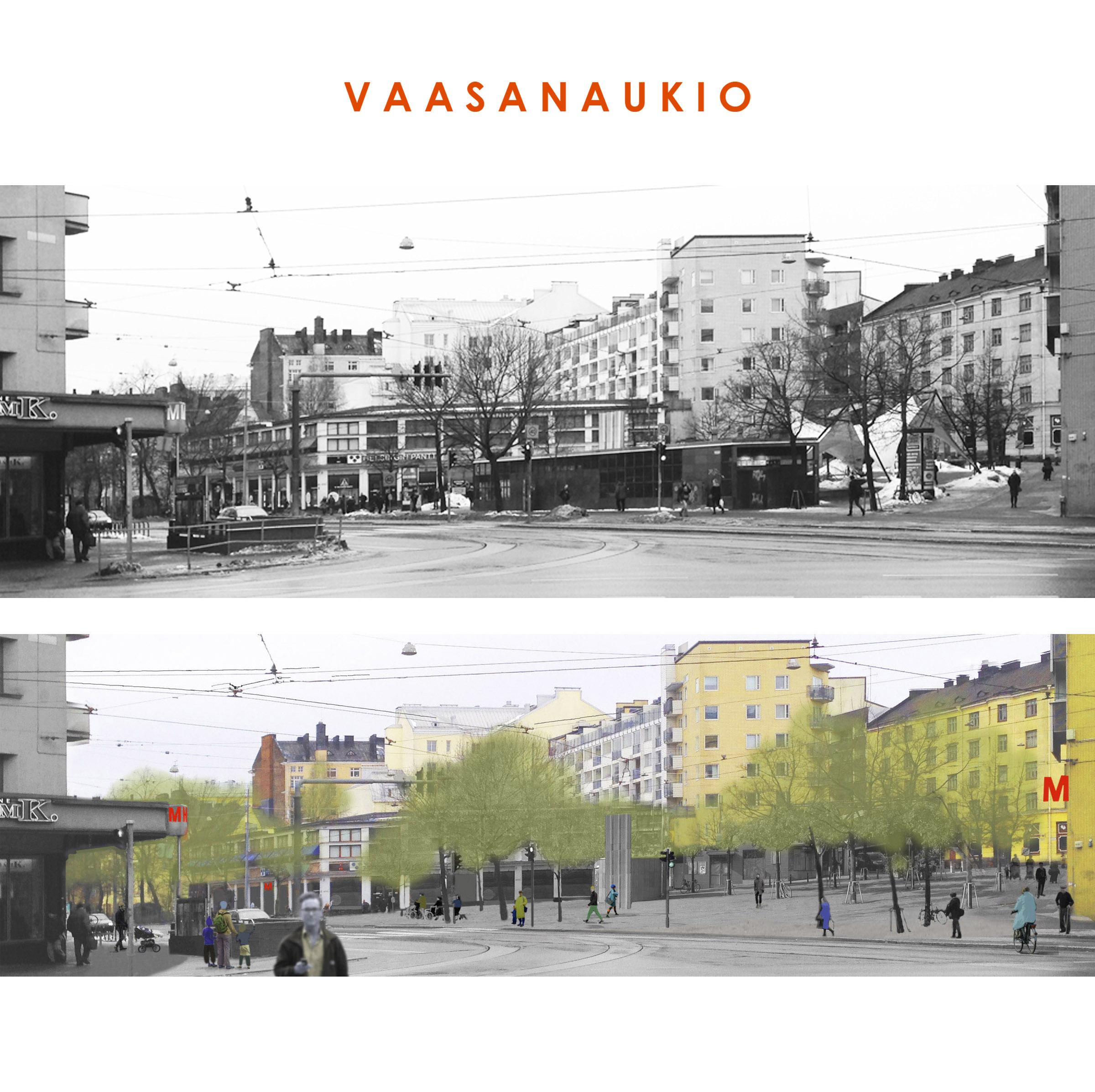 Helsingin Vaasanaukiosta saa viihtyisän siirtämällä metron sisäänkäynnin